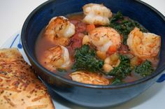 Slow Cooker White Bean and Kale Soup with Shrimp
