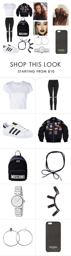 """""""Untitled #168"""" by askariwilson on Polyvore featuring RE/DONE, Topshop, adidas, Moschino, Gucci, Repossi and Balmain"""