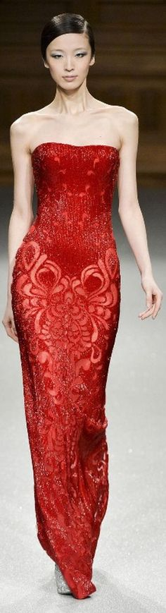 Tony Ward ~ Couture Strapless Red Gown Spring 2015