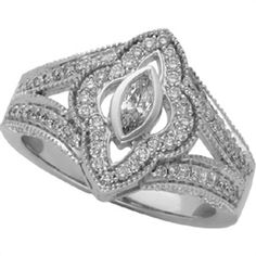 - 3/4 ct tw Vintage Diamond Engagement Ring #ME2470037