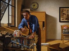 F. Scott Hess, The Architect, 2000, oil on canvas, 48 × 64 inches, 9 am in The Hours of the Day series.