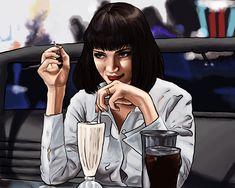 Mia Wallace, Uma Thurman, The Best Films, Pulp Fiction, Face Makeup, Comic Books, Comics, Drawings, Movie Posters