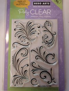 HERO ARTS CLEAR STAMPS - FANTASTIC FLOURISHES    Fantastic Flourishes 4x6. Hero Arts Clear Design 4x6 sets are made only in the USA from premium grade photopolymer for true impressions every time. They are easy to use easy to clean always cling tear-resistant and non-toxic.