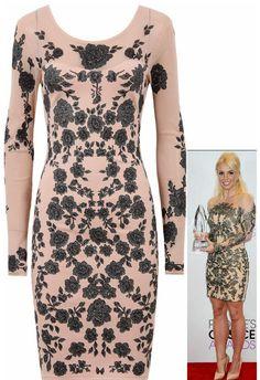 Peach Flower Print Mesh Detail Celebrity Bodycon Dress95�0Polyester