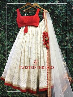 White Red Chikankari Lehenga by Twisted Threads. Lehenga Choli Designs, Saree Blouse Designs, Indian Lehenga, Lehenga Saree, Lehenga White, Bollywood Saree, Bollywood Fashion, Indian Bridal Outfits, Indian Designer Outfits