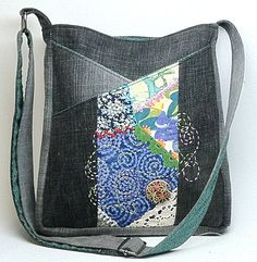 Crazy Quilted CrossOver Hip Bag  Black Denim by JillyMamas on Etsy, $78.00  #etsy  #thehotbobbin