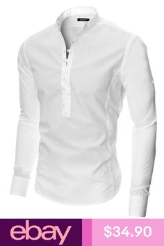 Moderno Button-Up Shirts Clothing, Shoes & Accessories Mens Polo T Shirts, Henley Shirts, Casual Shirts For Men, Men Casual, White Casual, Mens Kurta Designs, Shirt Style, 70s Aesthetic, Yoko