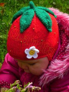 Strawberry Earflap Hat - via @Craftsy