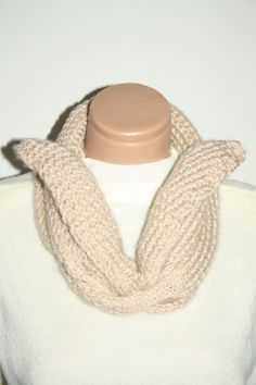 Hand knitted infinity scarf Beige Scarf by specialhandmades4you, $39.00