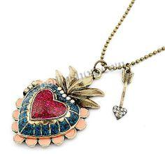 Zinklegierung Schmuck Halskette, mit Eisenkette, mit Verlängerungskettchen von 6cm, Herz, antike Bronzefarbe plattiert, Kugelkette & Emaille...