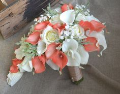 Cascade Bridal Bouquet Coral Ivory Real Touch Flowers Calla lilies Roses Dusty Millers baby's breath malaysia Wedding Bouquets