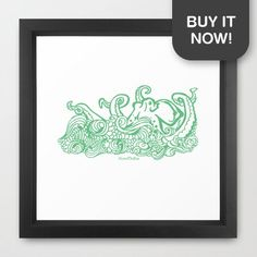 Get your very own Stormy Sea Studio Octopus design as an framed art print! As part of my #LoveTheSea series, 10% of the profits will be donated to the Suncoast Surfrider Foundation.