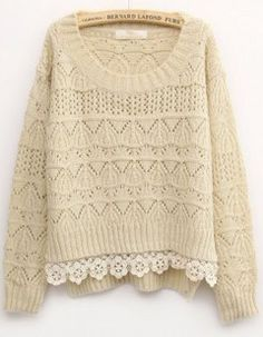 Beige Long Sleeve Contrast Lace Sweater - Fashion Clothing, Latest Street Fashion At Abaday.com
