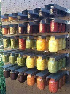 Mason jar storage   Peg board organizing   Canning