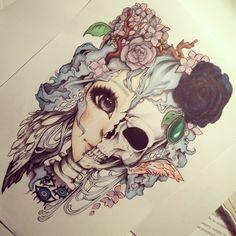drawing art kawaii beautiful indie Grunge skull punk Alternative drawings that-valeska Gothic Kunst, Gothic Art, Inspiration Art, Art Inspo, Tattoo Inspiration, Anime Body, Pastel Goth Art, Et Tattoo, Mädchen Tattoo