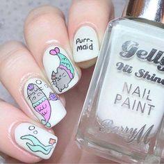 Al mal tiempo, uñas lindas🥰💅 Cat Nail Art, Cat Nails, Gelish Nails, Nail Manicure, Nail Art For Kids, Nail Effects, Kawaii Nails, Unicorn Nails, Mermaid Nails
