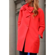 $24.52 Sweet 3D Bowknot Embellished Red Long Sleeve Coat For Women