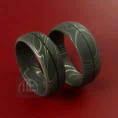 Matching Damascus Steel Ring Set Acid Finish Wedding Bands Genuine Craftsmanship Any Size 3-22. $398.92, via Etsy.