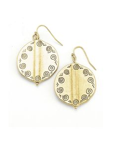Gold City Earrings $11.99  Modern stamped disc earrings have a fun swirl pattern. Pair with matching necklace for a complete look. Earings are 1 inch wide.   #earrings #jewelry #sale #curvy