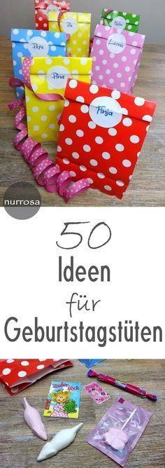 50 Ideen für Geburtstagstüten #diy #kids #basteln #geburtstag #geschenk #shopping #kinder #kindergeburtstag #mitgebsel