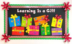 The Gift of Learning Holiday Bulletin Board Learning is a gift! Make this Christmas theme bulletin board for your classroom and have students add their names to their favorite school subjects on the gifts! Elementary Bulletin Boards, Christmas Bulletin Boards, Birthday Bulletin Boards, Winter Bulletin Boards, Classroom Birthday, Classroom Bulletin Boards, Classroom Decor, Preschool Bulletin, Elementary Library