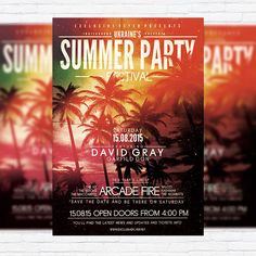 Summer Party Festival – Premium Flyer Template + Facebook Cover http://exclusiveflyer.net/product/summer-party-festival-premium-flyer-template-facebook-cover/
