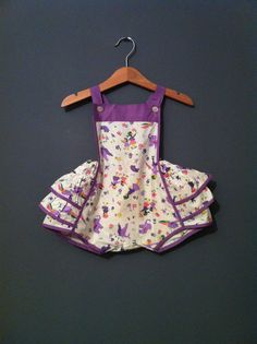 Vintage Retro Girls 1970 Ruffled Circus  Romper by TheAppleBobber