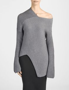 Grey Asymmetric Sweater - contemporary knitwear design // Joseph