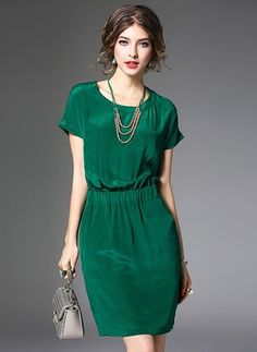 Silk Solid Short Sleeve Above Knee Casual Dresses Casual Dresses, Short Dresses, Fashion Dresses, Summer Dresses, Winter Typ, Silk Mini Dress, Green Dress, Chic Outfits, Dress Collection
