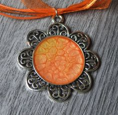 Tangerine Hand-painted Flower Pendant Necklace - Sunflower Pendant Necklace - Orange Pendant Necklace - Gardening Jewelry - OOAK Necklace by KayBejeweled on Etsy