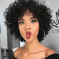 Curly Hair Styles, Short Curly Hairstyles For Women, Short Curly Wigs, Curly Hair Cuts, Wig Hairstyles, Natural Hair Styles, Short Natural Hair, Hairstyles 2018, Female Hairstyles