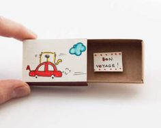 Jolie carte d'Encouragement Fun « Bon Voyage » Matchbox / coffret cadeau / Message box / OT063