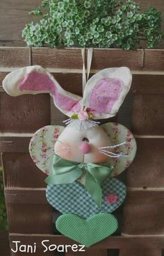 Fabric Easter Bunny with Fabric Hearts Hanger Easter Projects, Easter Crafts For Kids, Easter Paintings, Diy Ostern, Easter Colors, Easter Wreaths, Handmade Decorations, Spring Crafts, Easter Baskets
