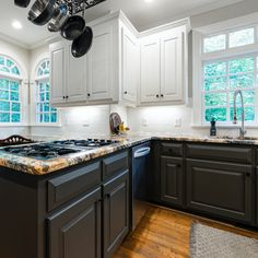 Have you noticed how absolutely in love we are with this timeless kitchen design? 🤗 What is your favorite part of it? #kitchencrush #kitchenlove #kitchengoals #subwaytile #whitesubwaytile #kitchenideas #interiordesign #cabinetry #kitchenrenovation #kitchentransformation #kitcheninspiration #kitchenmakeover #interiorinspiration #kitchendesigner #farmhousekitchen #farmhousedecor #farmhousedesign #farmhousestyling #kitchenisland #farmhousekitchendecor #blackandwhitekitchen #twotonekitchen Farmhouse Kitchen Decor, Farmhouse Design, Traditional Kitchen Cabinets, Two Tone Kitchen, Timeless Kitchen, Grey Cabinets, Shaker Style, Painting Cabinets, Interior Inspiration