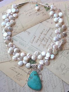 ❥ White clouds of coin pearls with a gorgeous turquoise pendant~ MiaBellaCollection