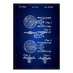 Blue Print of Starship Vintage Patent Art - decor gifts diy home & living cyo giftidea #patentartgifts
