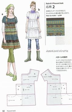 draw pattern, style book, japanese patterns sewing, dress styles