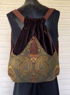 Sac de velours brun médaillon tapisserie Renaissance sac de livre