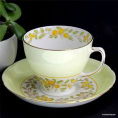 Vintage Old Royal Sampson Smith Green Yellow Floral Band Tea Cup & Saucer Set #SampsonSmith