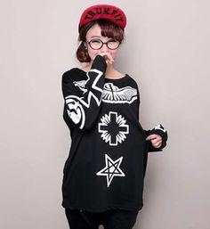Hip-hop Style Wing Cross Printing Long Sleeve Hoodies