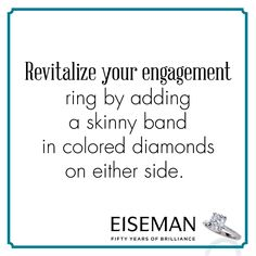 Eiseman Jewels Sparkling Suggestion! | Eiseman Bridal | Engagement Ring | Diamonds | Jewelry | Tips | Wedding Band