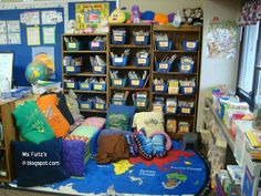 Pillows covered in college t-shirts to inspire my students about their future!