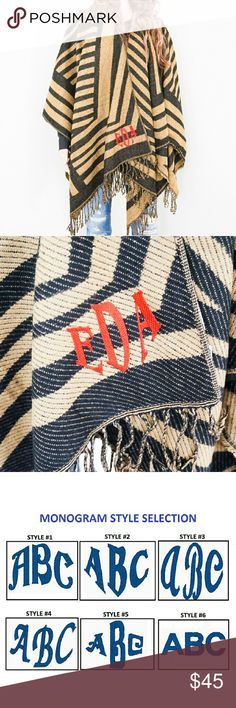 "New! Monogrammed Fringed Poncho This stylish fringed poncho which feels soft, plush and comfy will surely do the trick in this cold weather. But what's even better is you can now have it monogrammed for free. As they say, own it (for real!!!) and flaunt it!. Upon purchase, just comment your 3-letter initials, choice of style and color.   Size and material: 25"" x 56"", one size fits most. 100% acrylic.  Sale Agreement: You agree that your monogrammed item cannot be returned because it is…"