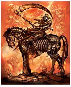 Grim Reaper on his horse Grim Reaper Art, Grim Reaper Tattoo, Grim Reaper Pictures, Demon Horse, Skeleton Warrior, Fire Horse, Horsemen Of The Apocalypse, Skull Pictures, Deadshot