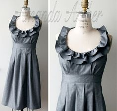 Grey Dress Bridesmaid Made to Order cotton with by AmandaArcher, $189.00