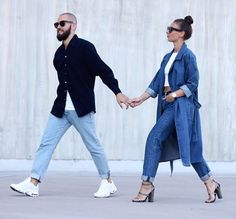 Her double denim. Fashion Couple, Love Fashion, Mens Fashion, Fashion Outfits, Street Style, Street Chic, Amo Jeans, Streetwear, Stylish Couple