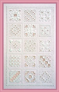 Hardanger SamplerThis sampler is one in the true sense of the word. It can be stitched in its entirety for a splendid display of Hardanger motifs, during the working o. Hardanger Embroidery, Embroidery Stitches, Embroidery Patterns, Hand Embroidery, Cross Stitches, Drawn Thread, Thread Work, Types Of Embroidery, Learn Embroidery