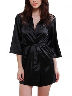 Walkingon Sexy #Womens #Silk Night Robes Sheer Lace #Nightdress Lingerie