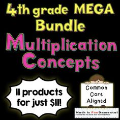 4th Grade Multiplication Concepts Mega BundleThis product includes all 11 of my 4th grade multiplication concept products for just $1 each.  That's $32 in products for just $11!  This bundle includes everything you'll need to teach and review multiplication related concepts such as arrays, repeated addition, factors, multiples, prime and composite numbers as well as methods for learning these concepts including  t-charts, factor rainbows, area models, prime factorization, divisibility rules…