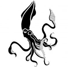 GIANT SQUID Wall STENCIL, Reusable, EASY DIY Stenciling Home Decor | OliveLeafStencils - Handmade Supplies on ArtFire